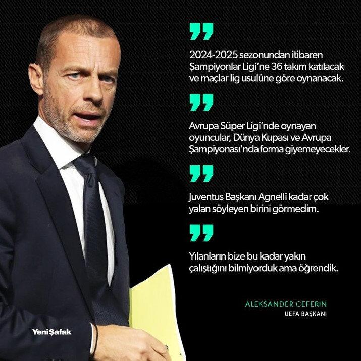 UEFA Başkanı Ceferin'in açıklamalarından satır başları