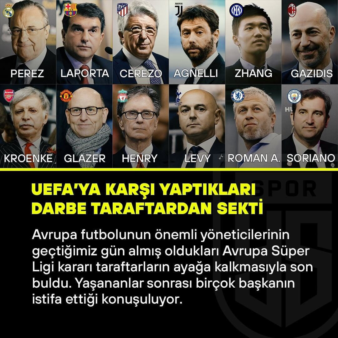 Avrupa futbolunun üst yöneticilerinin UEFA'ya karşı yaptıkları 'darbe' taraftarların tepkisiyle geri sekti.