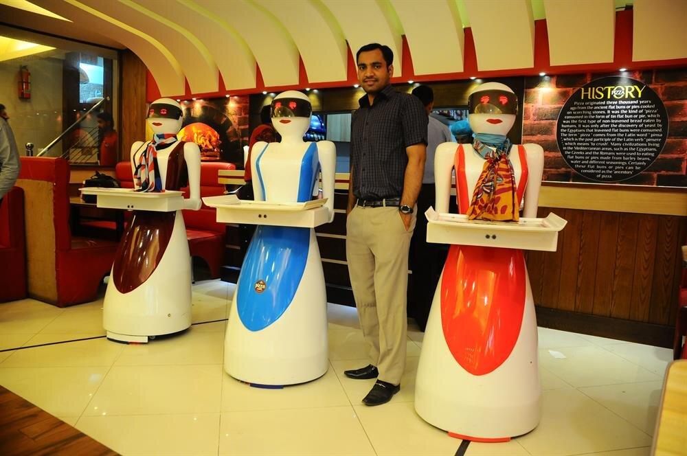 Robot waitress serves customers at Multan pizzeria