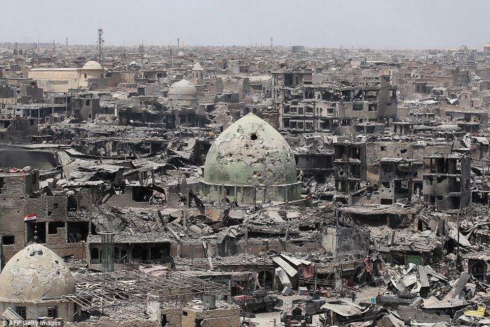 Üç yıl önce terör örgütü DEAŞ'ın eline geçen Musul'da El-Nuri Camisinin son hali.