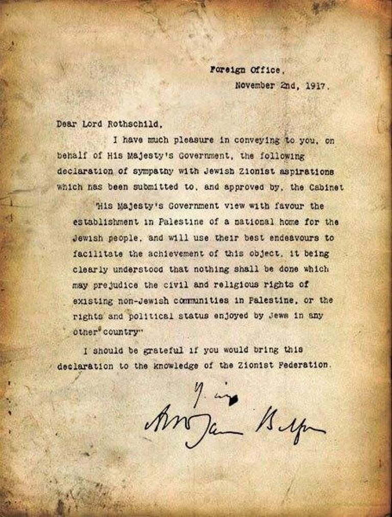 İngiltere'nin Birinci Dünya Savaşı sırasındaki Dışişleri Bakanı Lord Arthur Balfour, 2 Kasım 1917 tarihinde bir deklarasyon yayınladı.