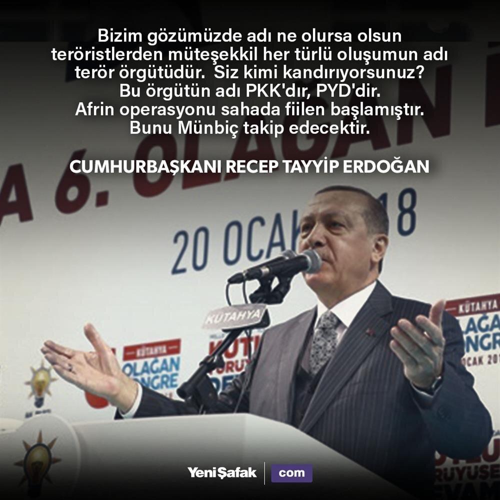 Cumhurbaşkanı Erdoğan: Afrin operasyonu sahada fiilen başladı