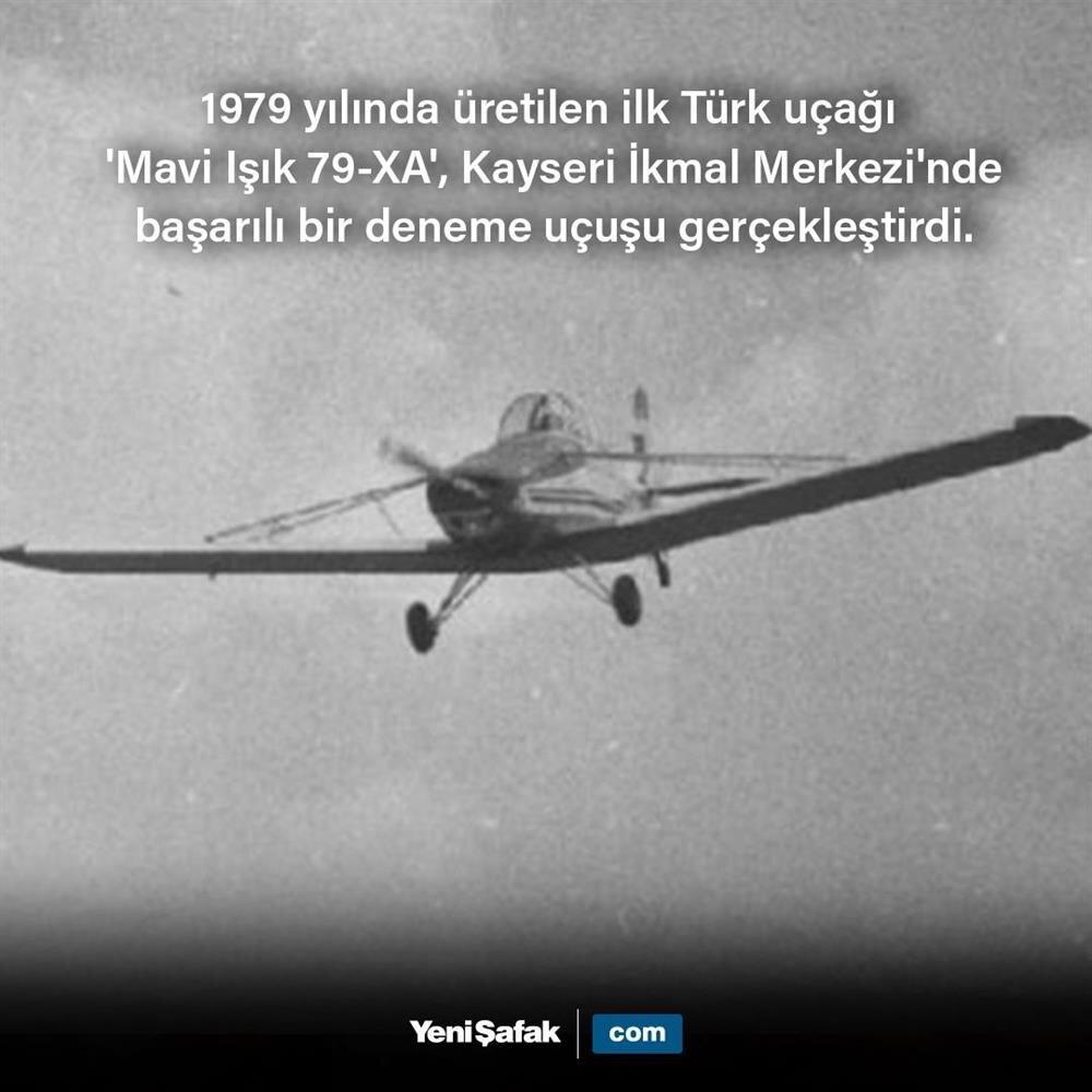 İlk Türk uçağı 'Mavi Işık 79-XA' başarılı bir deneme uçuşu gerçekleştirdi