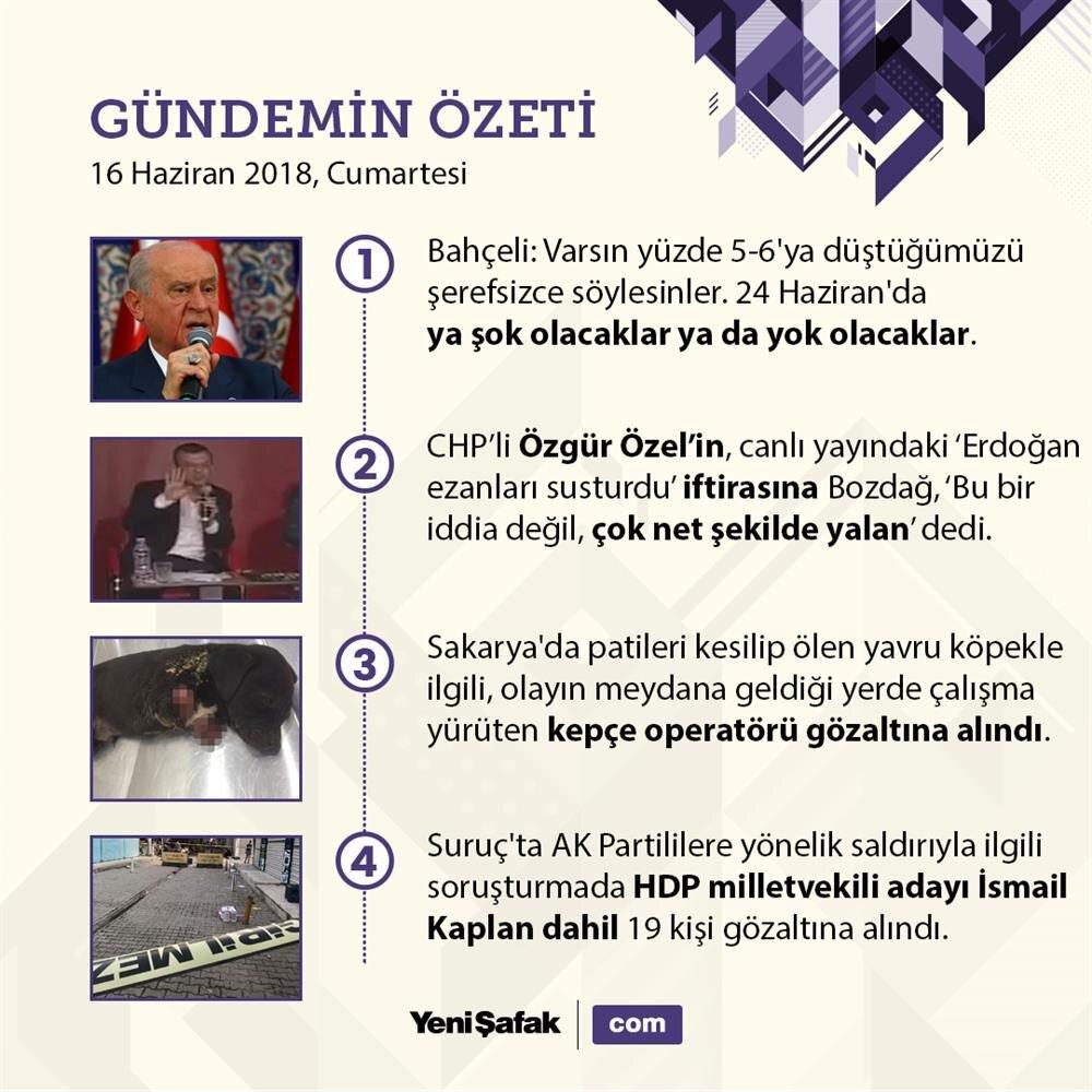 16 Haziran Türkiye gündemi;