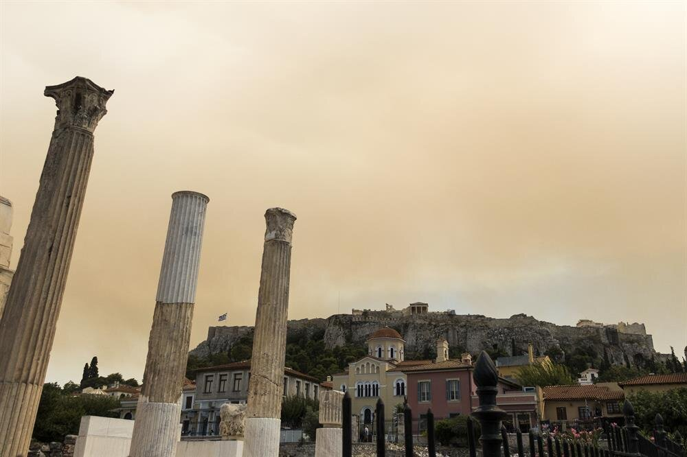 Wildfire burning outside Athens