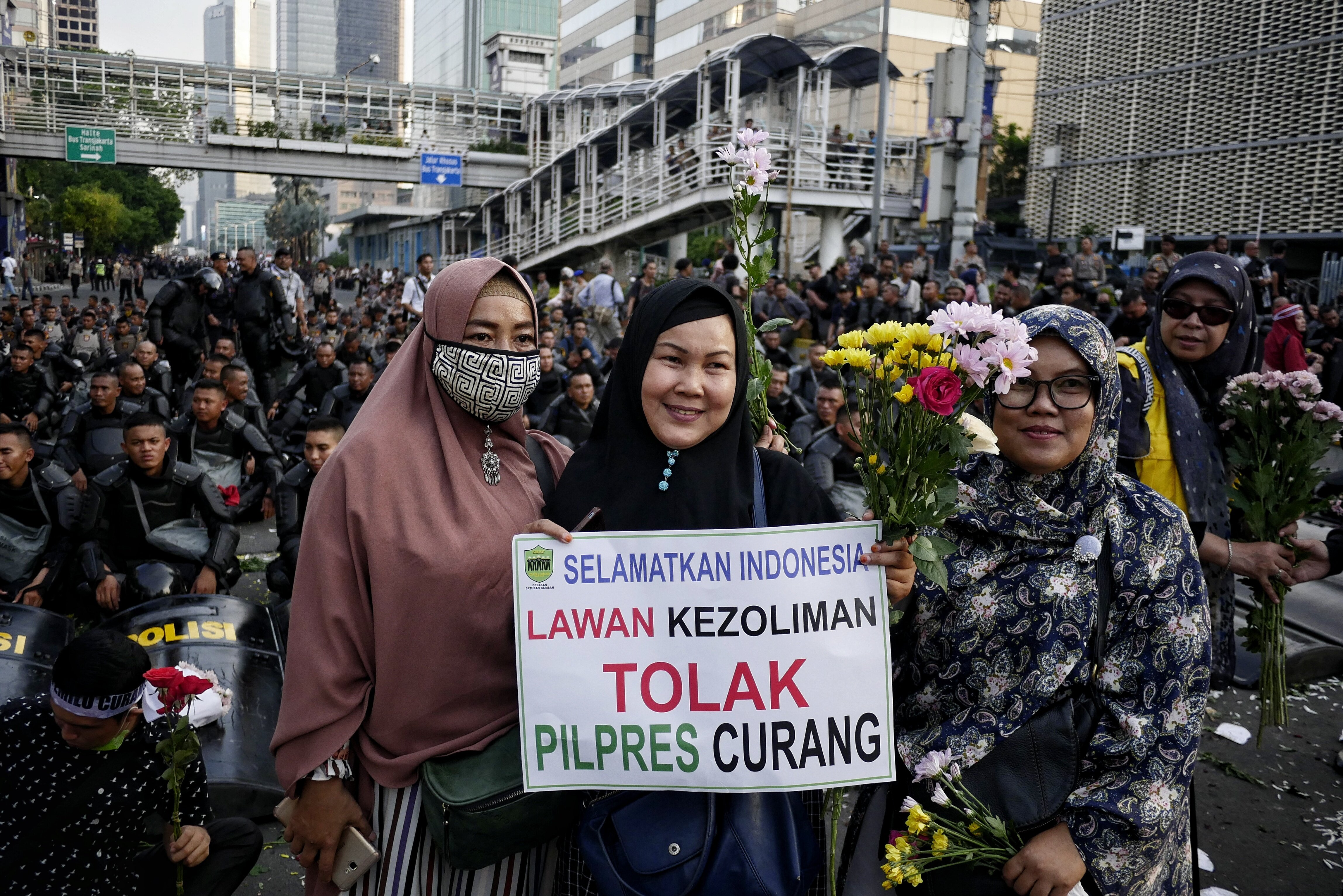 Mass rally in The Elections Supervisory Agency in Jakarta