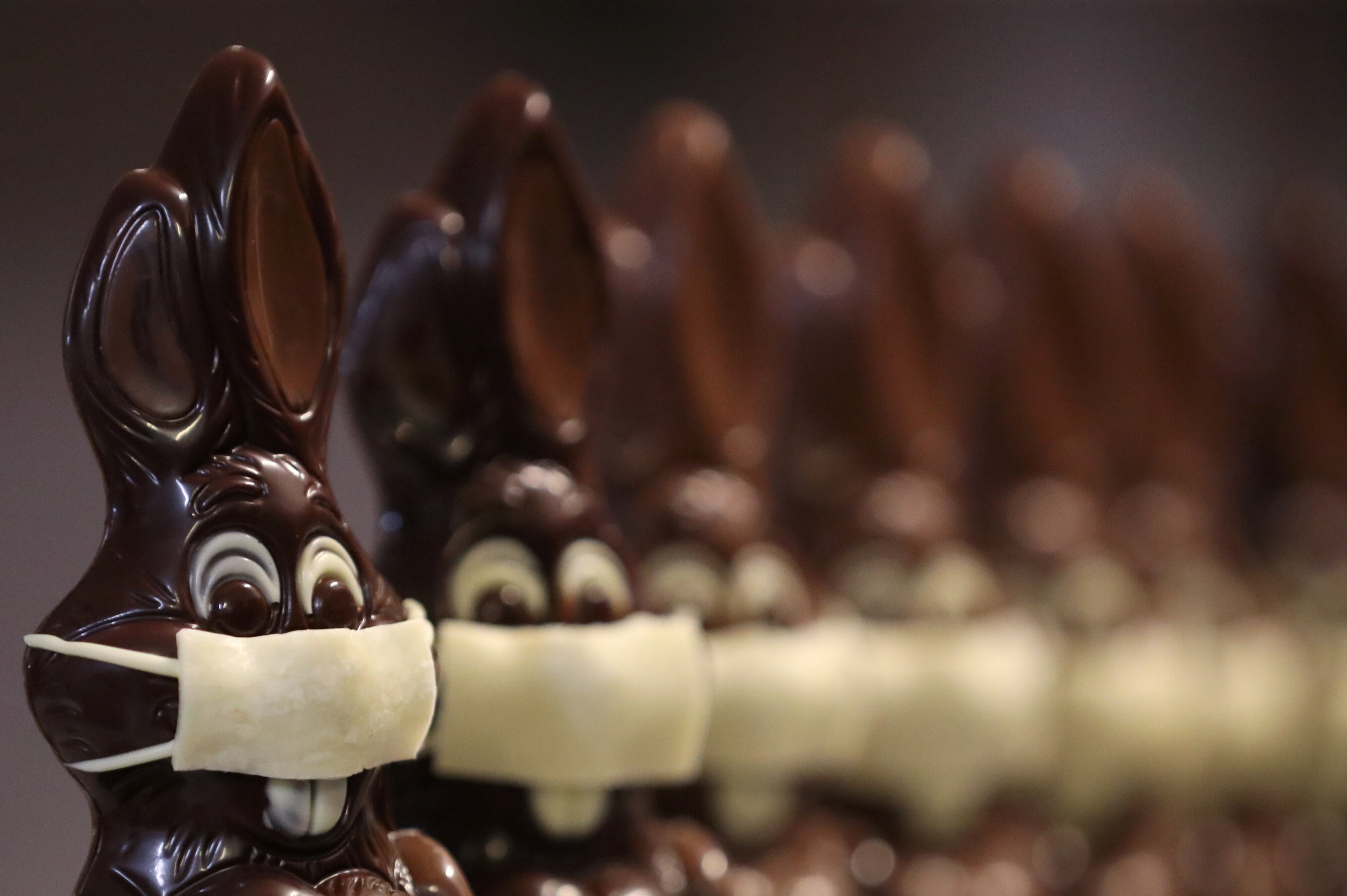 Not just people, chocolate Easter bunnies need to wear masks in Belgium too